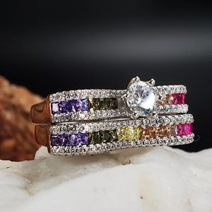 Solid 925 Silver Ring Genuine Precious Gems